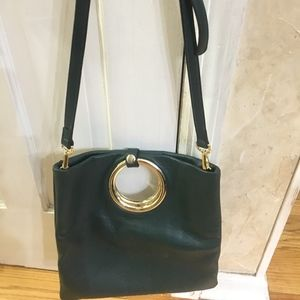 Handbags - NWT All-Leather Green Leather Crossboy